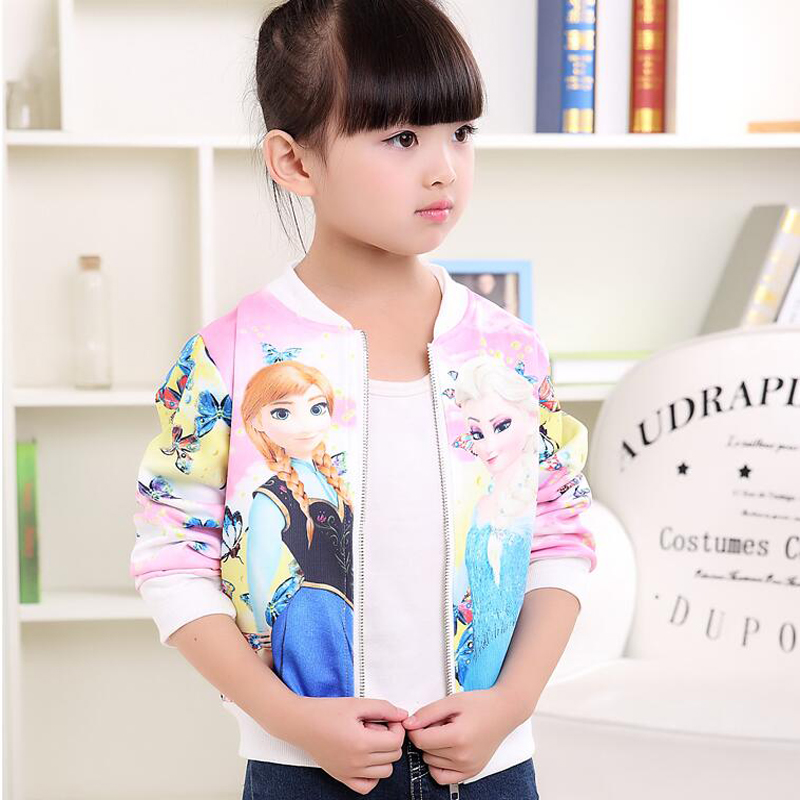 Elsa 2017 Baby Girls Jackets Winter Elsa Jackets Anna Butterfly Snow Queen Girls Outwear Kids Jackets for Girls Clothes Costume