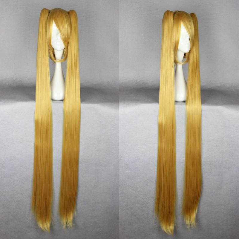 HAIRJOY Blonde Synthetic Vocaloid Akita Neru Famous Animation Golden Long Straight Braided Cosplay Wig <br><br>Aliexpress
