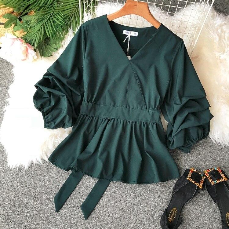 2109 Spring Women V-neck Puff Sleeves Blouse Slim Tunic Tops Retro Vintage Pullovers Busos Para Mujer Kimonos 101 Online shopping Bangladesh