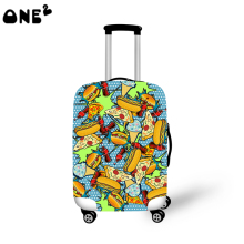 ONE2 hamburger food design luggage cover for high school students 22,24,26 inch suitcase use fancy luggage cover for suitcase