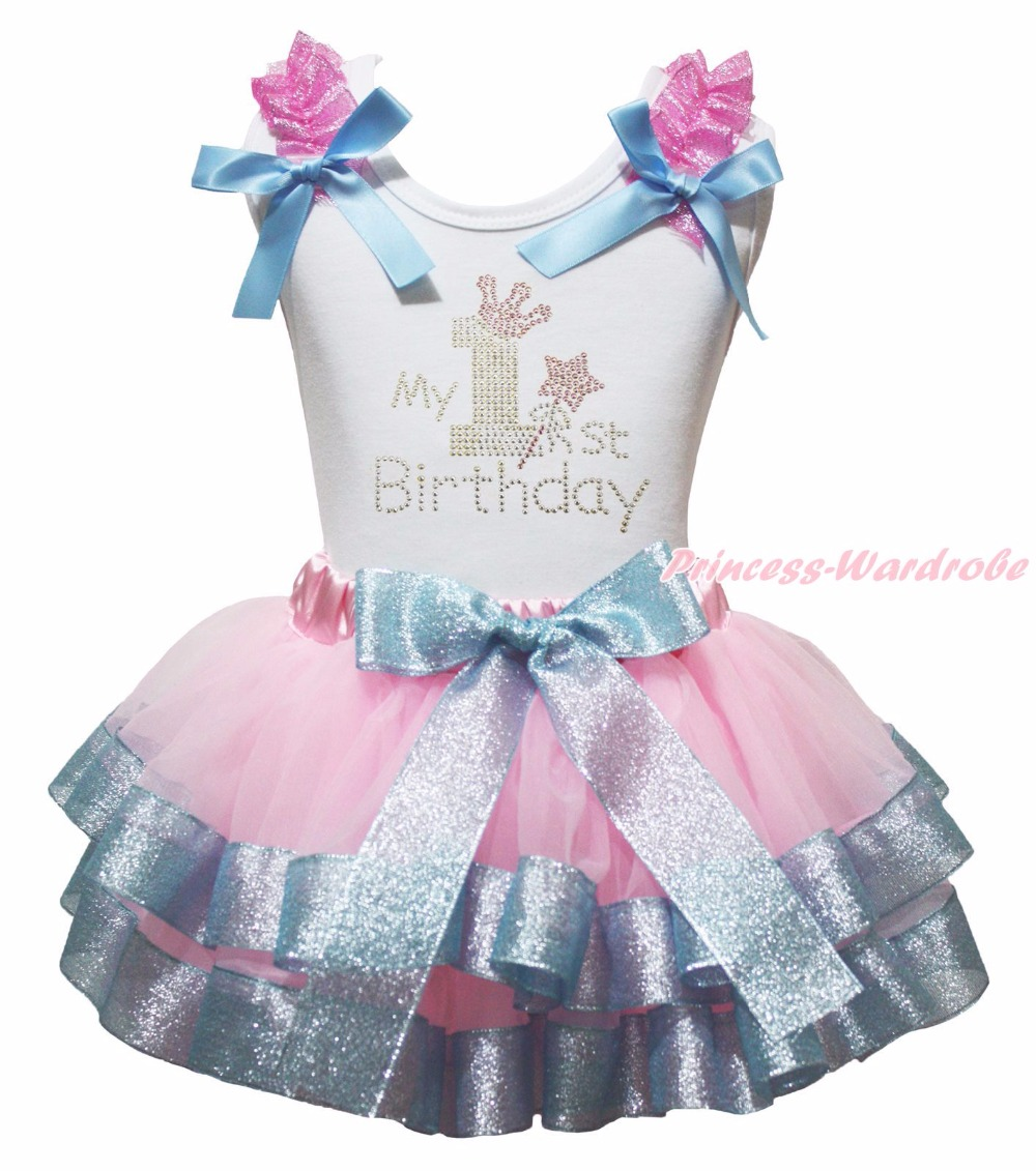 White Cotton Shirt Silver Pink Petal Skirt Girl Outfit Set Dress My 1st-6th Birthday Costume Nb-8y LKPO0022<br>