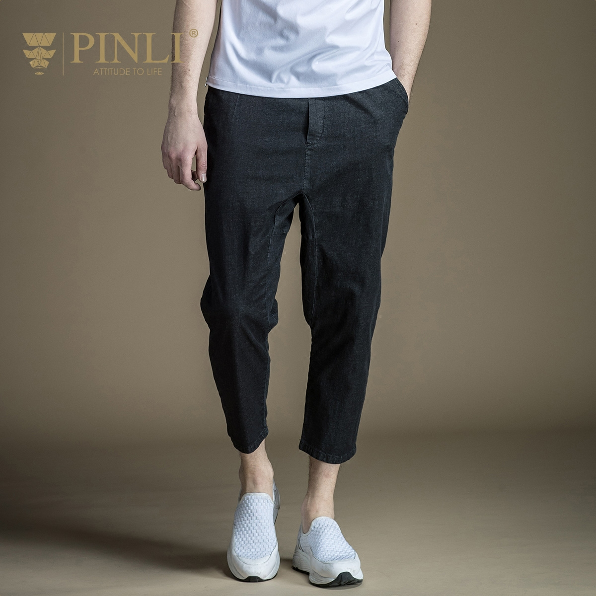 Pinli Promotion Acetate Knee Length Midweight Pencil Pants Mid Product 2017 New Summer Mens Quality Slim Jeans D172416008 Îäåæäà è àêñåññóàðû<br><br>
