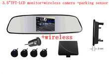"cheapest Car Reversing Kit / 3.5""rearview mirror monitor+ wirelessRearview Camera + Parking Sensor/"