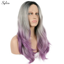 Three Tone Dark Root Ombre Grey To Lavender Heat Resistant Fiber Hair Nature Wave Lilac Purple Synthetic Lace Front Wig Sylvia(China)