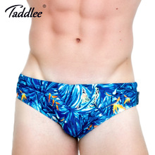 Taddlee Brand Men's Swimwear Sexy Low Waist Swim Boxer Brief Surf Board Shorts Trunks Gay Men Swimsuits Traditional 3D Printed