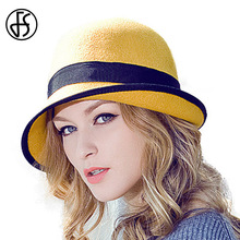 2017 Winter Women 100% Australian Wool Felt Bowler Fedora Hat Floppy Cloche Ladies Curl Brim Blue Red Yellow Bowknot Hats
