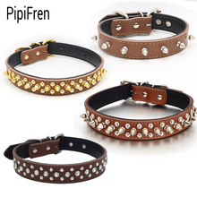 PipiFren Small Dogs Collars Cat Spiked Rhinestone For Puppy Big Dog Collar Leash Pet Necklace collier pour chien honden halsband(China)