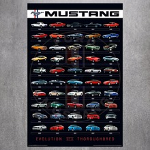 Mustang Car Evolution  Quote Canvas Art Print Poster Wall Pictures For Bed Room Decoration Home Decor Silk Fabric No Frame