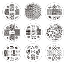 1pcs 30 designs for Choosing 5.5cm Stamping Nail Art Templates Fashion Flower/Bow/Vine Image Nail Stencils Plates TRSTZA01-30