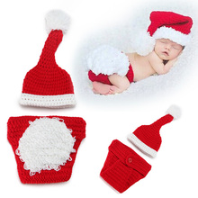 Red Baby Photography Props newborn baby girls cute outfit knitting Hat Pants Set Baby Clothing Accessories baby photo props D3-2