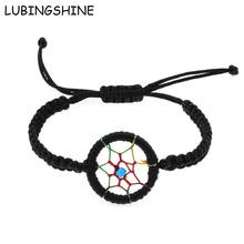 LUBINGSHINE Adjustable Braid Bracelet Handmade Wristband Jewellery bileklik Red/Black/Pink Woman Dream Catcher Bracelet Bangle(China)