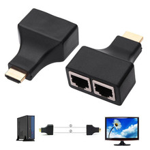 New 1 Pair 1080P HDMI Dual Port RJ45 CAT5E CAT6 UTP LAN Ethernet HDMI Extender Repeater Adapter For HDTV HDPC for PS3 STB(China)