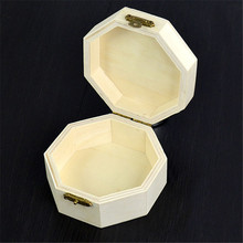Wooden Octagonal Jewelry Box Mud Big Base Art Decor Children Kid Baby DIY Wood Crafts Toys