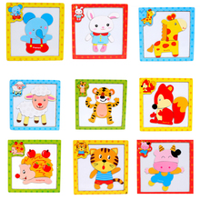 Children 3D Wooden Magnetic Puzzles Jigsaw Toys Cartoon Animals Puzzles Tangram Child Educational Toy for Children