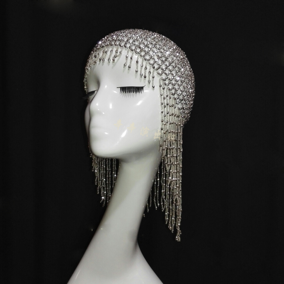 Bar Nightclub Night Singer DJ DS Beaded Diamonds Costumes Modern Headdress Tassel Hat 4 Colors