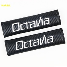 HARBLL Car Seat Belt Cover Shoulder Pad Carbon Fiber PU Leather For Skoda Octavia Volkswagen Audi Car Styling(China)