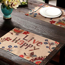 Placemat-I-2pcs polyester table mat live happy creative printing insulation mat tray cloth anti oil waterproof place mat