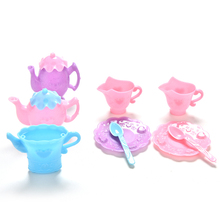 Lovely Mini Tableware Tray Teapot Cup Spoon For Barbies Dolls Accessories Dollhouse Colorful Furniture Pretend Play Girls Gifts(China)
