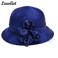 Women Wide Brim Sun Hats Ladies Church Hats Wedding Floral French Veils satin ribbon tea party event Sun Hats(China)