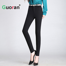 {Guoran} Red Black Women High Stretch Pencil Pants For Office Ladies 2016 Plus Size Skinny Slim Trousers Capris Pants Femme(China)