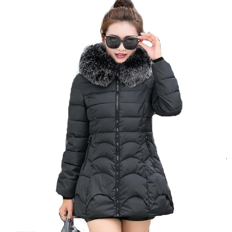 Long fur collar hooded female coat parka plus size slim women winter jacket warm thicken casaco feminino inverno overcoatÎäåæäà è àêñåññóàðû<br><br>