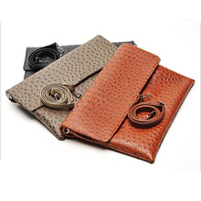 ETONWEAG Famous Brands Ostrich Leather Crossbody Bags For Women Messenger Bags 3 Colors Luxury Clutch Bag Organizer Wristlet(China)