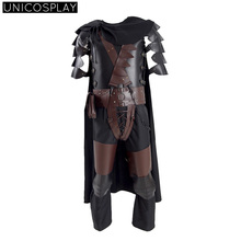 Berserk Guts Armor Cosplay Costume Halloween Battle Suit For Man Adult With Cloak Kneepads Full Set