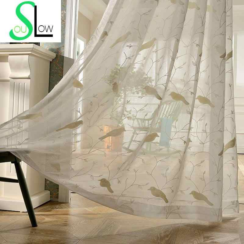 Bird Embroidery Curtains For Bedroom Chinese Style Tulle Curtains Screening  Sheer Cafe Curtain Cortinas Visillos Rideau Voilage