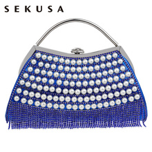 SEKUSA Crystal Tassel Fahion Women Evening Bag Beading Handmade Style Handbags Mixed 5 Colors Diamonds Banquets Evening Bag
