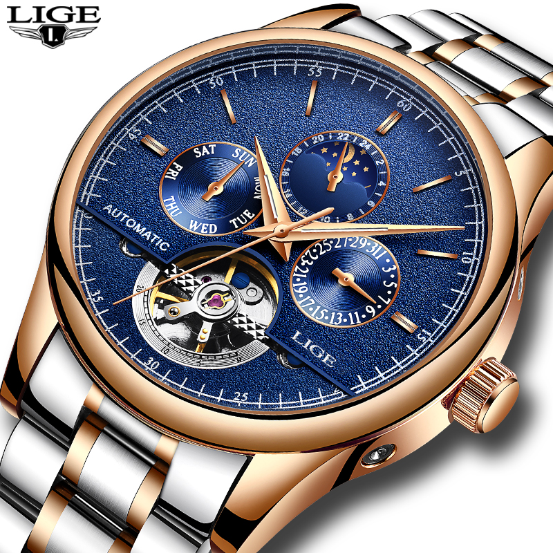 LIGE mens watches top brand luxury Sports steel strap mechanical watch Military watch waterproof mens clock relogio masculino<br>