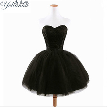 Buy YELIANHU New Strapless Ball Gown Mini Dresses Knee Length Birthday Party Black Dress 2017 Women Clothing vestido de festa 5JQ for $14.35 in AliExpress store