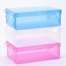 Foldable Clear Plastic Shoe Storage Box Transparent Stackable Foldable Shoe Box Organizers Wholesale(China)