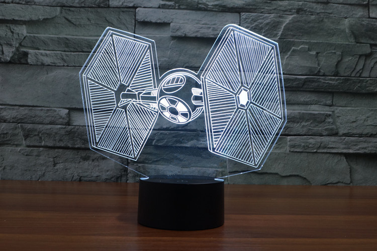 Creative 3D LED 7 color Star Wars X-Wing changing visual illusion light bedroom light action figures PMMA table lamp<br><br>Aliexpress