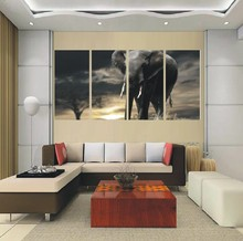 Canvas Art Work Elephant 4 Panel Painting Wall Art Picture Home Decoration Living Room Print Modern