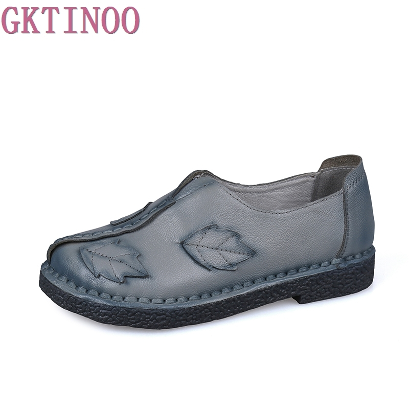 Ethnic Style 2018 New Fashion Genuine Leather Handmade Womens Shoes Comfortable Casual Flat Shoes Woman Loafers Women Flats<br>