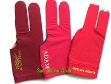 Free shipping 3pcs/lot high Elasticity 3 finger Billiards gloves/Red Snooker billiard table Gloves Billiards Accessories