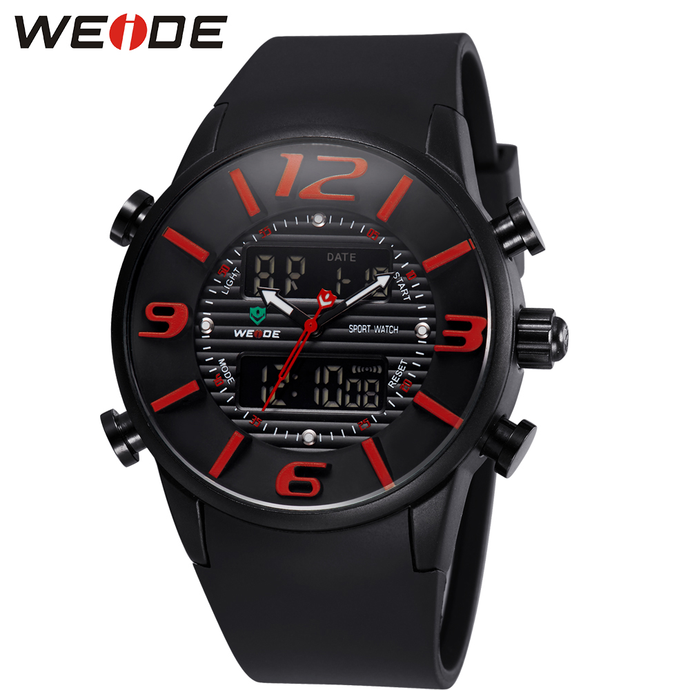 2017 WEIDE Men Casual Watch Waterproof Clock LCD Display Outdoor Sport Watches Black PU Band Clock Cool Man Wrist Watch / WH3402<br><br>Aliexpress