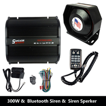 300W 12V Car Alarm Police Siren Fire Loud Speaker PA Siren Horn Bluetooth System Kit with Mp3 function