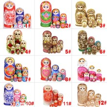7pcs/Set Wooden Russian Nesting Dolls Dried Basswood Traditional Authentic Handmade Matryoshka Doll Kids Gift FJ88