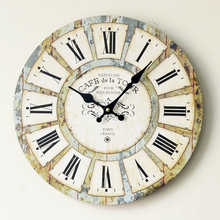 Hot Sale Large Digital Wall Clock European Style Vintage Creative Wood Silent Retro 3D Wall Clocks