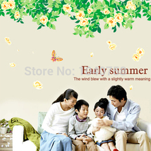 Large Removable PVC Matte Green Tree Wall Stickers Living Room, Flowers Butterfly Decorative Wall Decal Home Decoration Wall Art