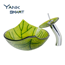 US Bathroom Faucets Green Leaf Color Washbasin Tempered Glass Vessel Sink Set Brass Bathroom Sink Set With Waterfall Faucet
