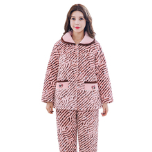 Newe Winter Thick Warm Women Flannel Pajamas Set Coral Fleece Comfortable Soft Striped Women Causal Pajamas Free Shipping(China)