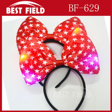 Free shipping 12pcs/lot party led bow red headbands Princess Light Up Headband Flashing pentagram Blinking LED Party Supply