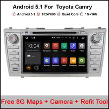 Free shipping Quad core 1024*600 HD 2 din Android car dvd player For CAMRY 2007-11 auto radio double din with google play
