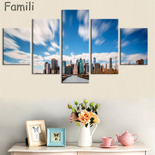 Unframed Modern 5pcs Melamine Sponge Board Canvas Oil Painting New York City Night View Pictures Seascape Living Room Wall Art(China)