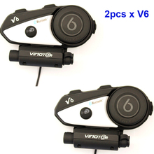 Easy Rider 2PCS Vimoto V6 Multi-functional 2 Way Radio BT Interphone Motorcycle Helmet Bluetooth Intercom Headset