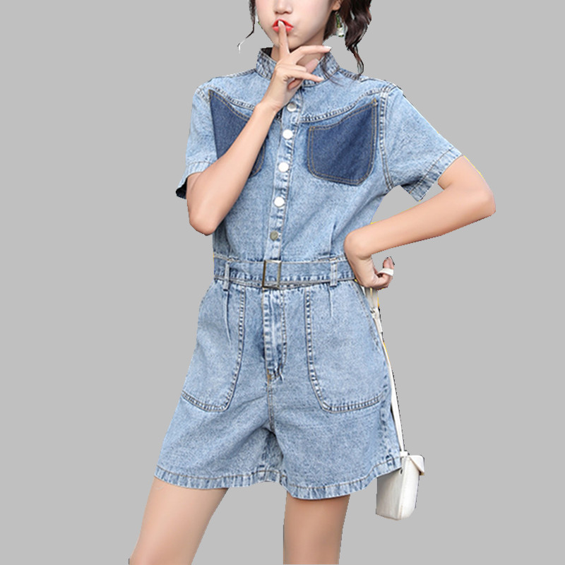 New 2019 Fashion Women Denim Rompers Jumpusits Summer Blue Single Breasted Cowboy Overalls Casual High Waist Wide-Leg Playsuits