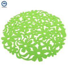 32cm 12.6 inch Colorful Modern Round Cute Flower Felt Placemats Kitchen Dinner Table Mats 4 Colors