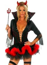 Free shipping Ladies Halloween Devil Fancy Dress Costume Horn Woman Sexy Devil Costume Outfit(China)
